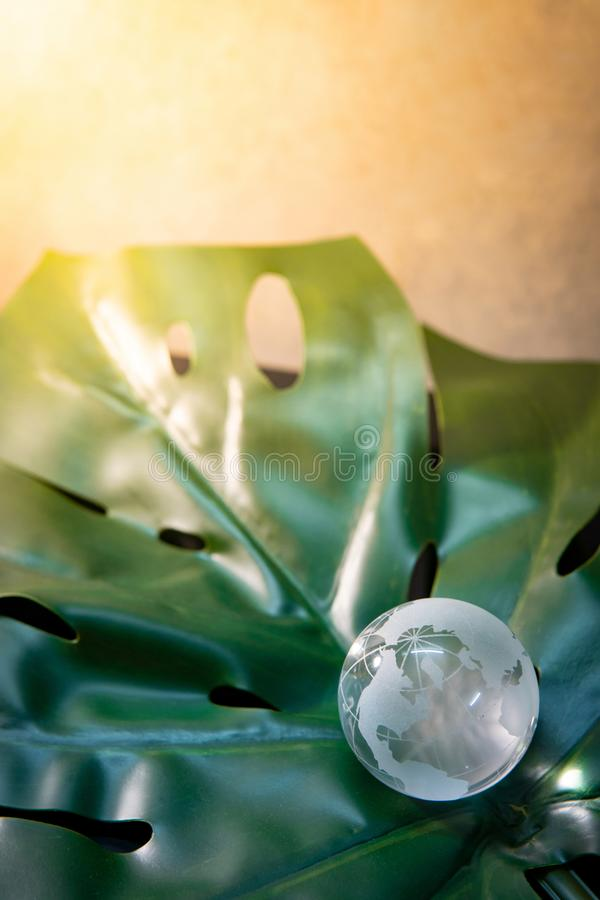World globe cystal glass on green leaf. World globe cystal glass on green lush leaf. Environmental conservation. World environment day. Global business for royalty free stock photos