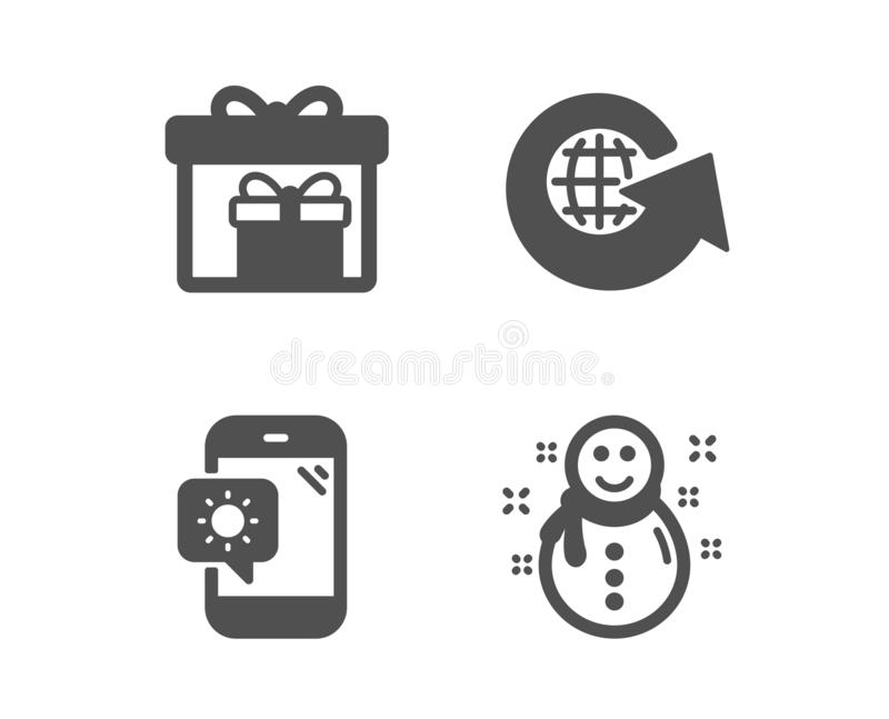 World globe, Delivery boxes and Weather phone icons. Snowman sign. Vector royalty free illustration