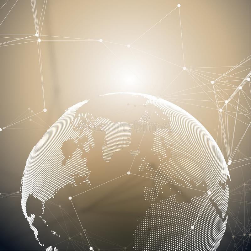 World globe on golden background with connecting lines and dots, polygonal linear texture. Global network connections vector illustration