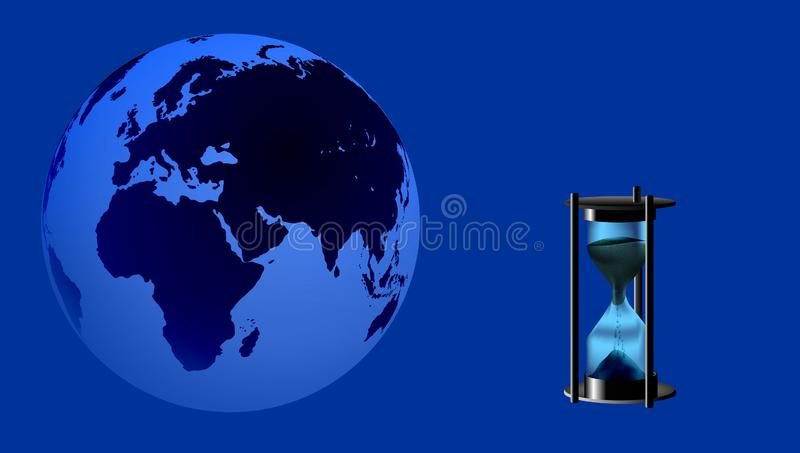 World Globe with hourglass time hour . vector illustration. stock illustration