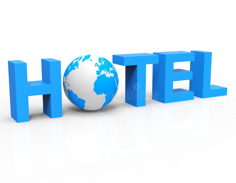 World Globe Indicates Place To Stay And Check-In. World Hotel Meaning Place To Stay And Single Room royalty free illustration