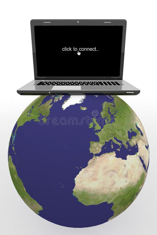 World globe,Laptop on a map