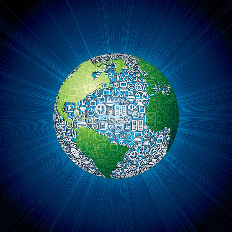 Social Media Icons Globe Stock Images