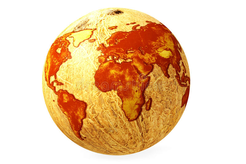 World globe map coconut stock illustration