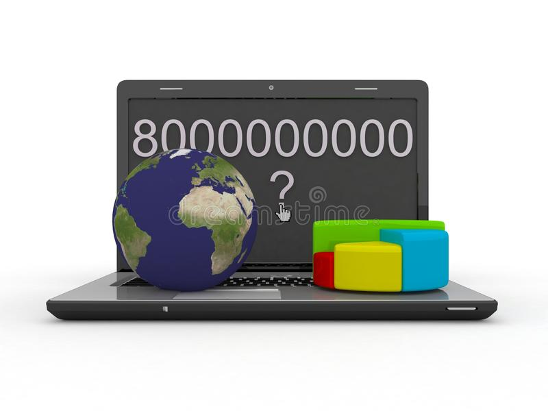 Download World Globe, Map And 3d Pie Chart On A Laptop Stock Illustration - Image: 31785569