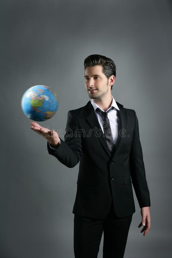 World globe map sphere in businessman hand royalty free stock photo