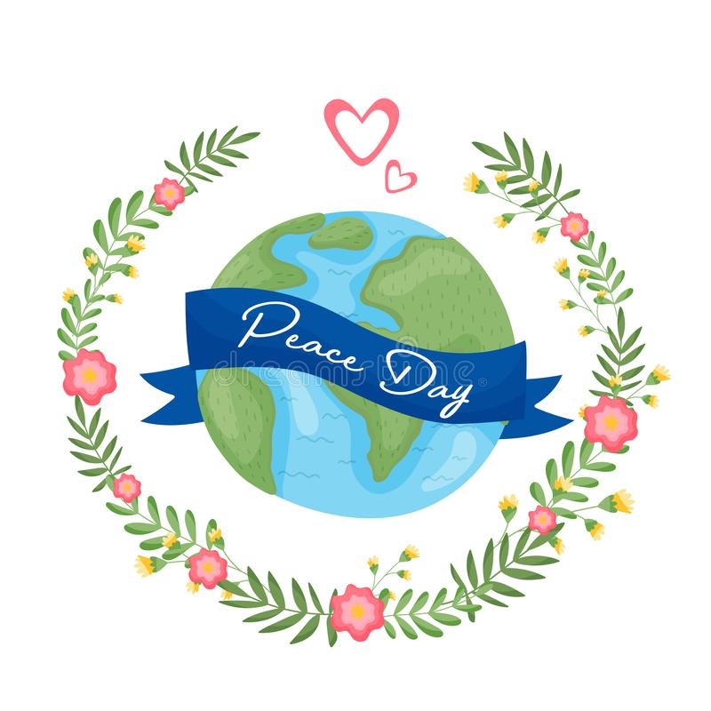 World Globe In The Middle Of The Floral Frame With Ribbon vector illustration
