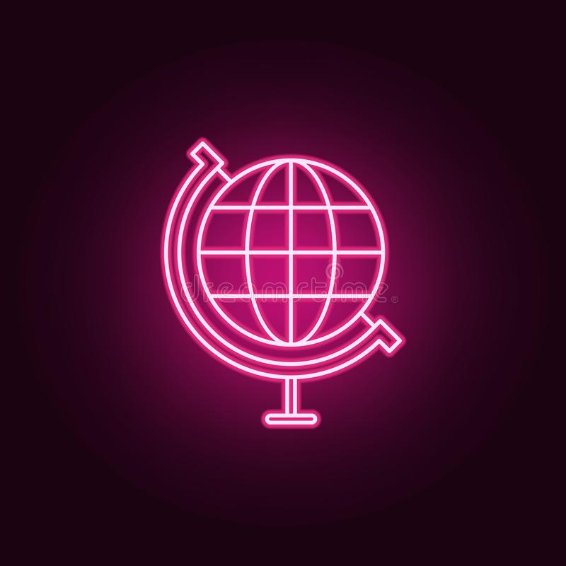 World globe neon icon. Elements of Sciense set. Simple icon for websites, web design, mobile app, info graphics. On dark gradient background royalty free illustration