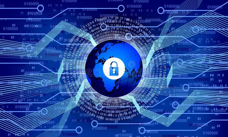 World globe network security technology. technology communication. Screen monitor bytes binary code network futuristic abstract cyberspace modern technology royalty free illustration