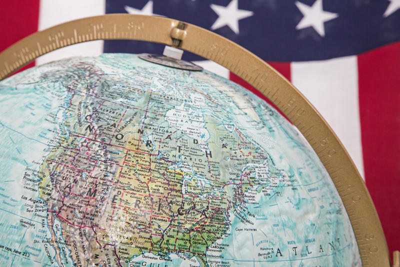 World Globe North America USA Flag Background Stock Photo Image - Usa globe map