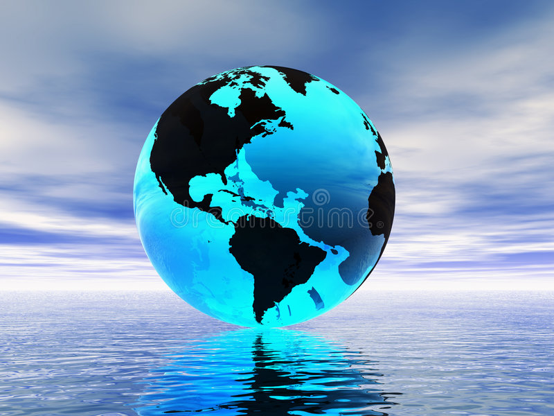 World globe and ocean stock illustration