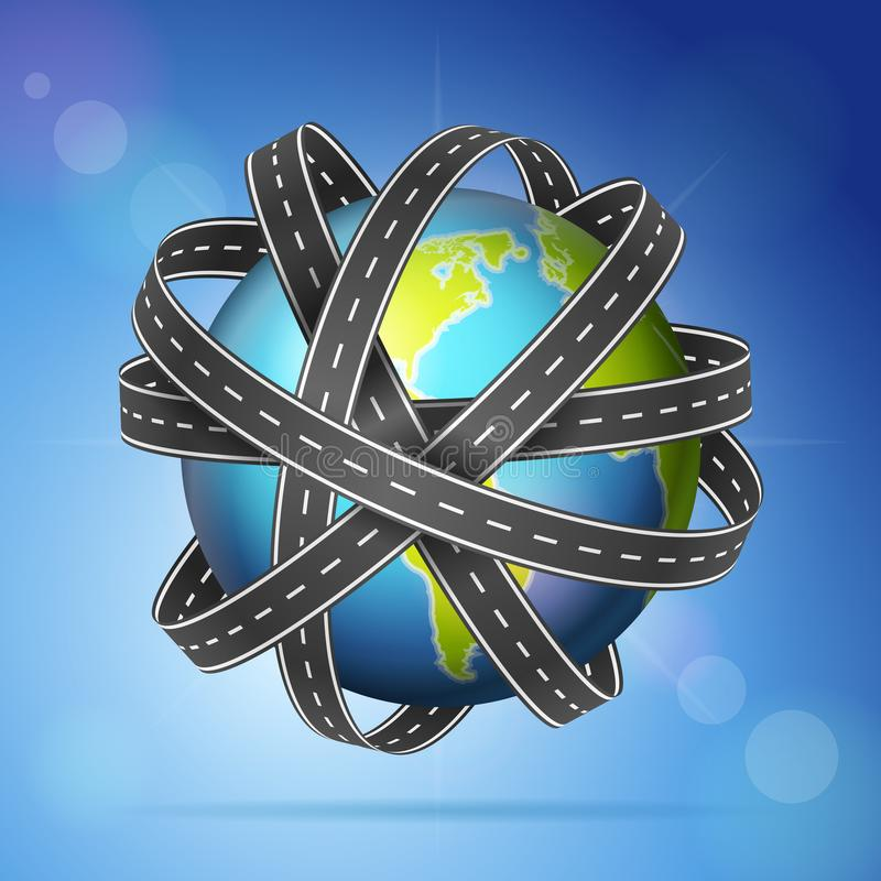 World globe roads. World globe with roads on a sky background vector illustration