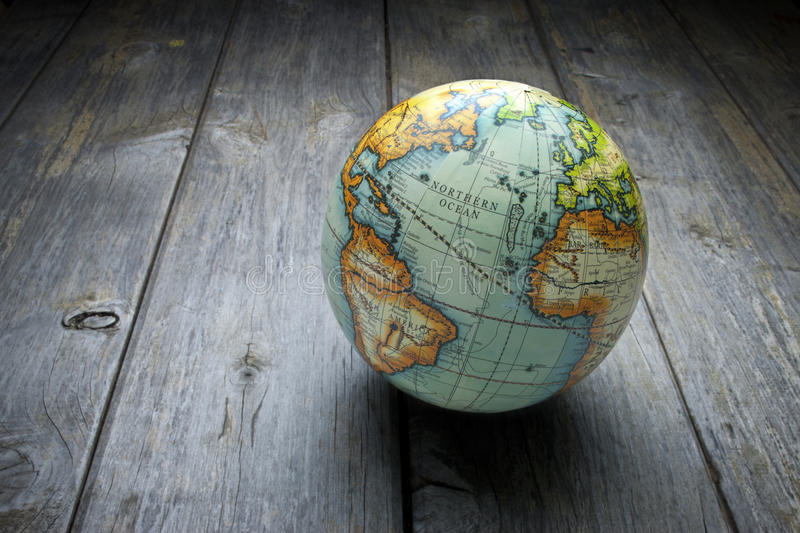 World Globe Wood Background stock photo