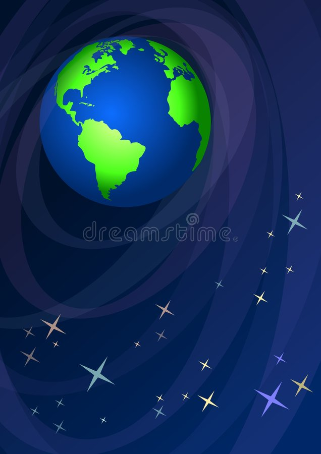 Download World globe in starry sky stock illustration. Image of south - 4801454
