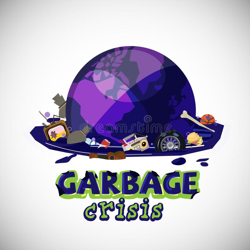 World globe in Waste Water with garbage. garbage crisis concept with typographic design - vector illustration. World globe in Waste Water with garbage. garbage stock illustration