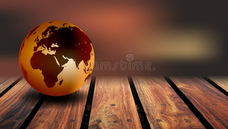 World Globe Wood Background. A world globe on a rustic wood background royalty free stock image