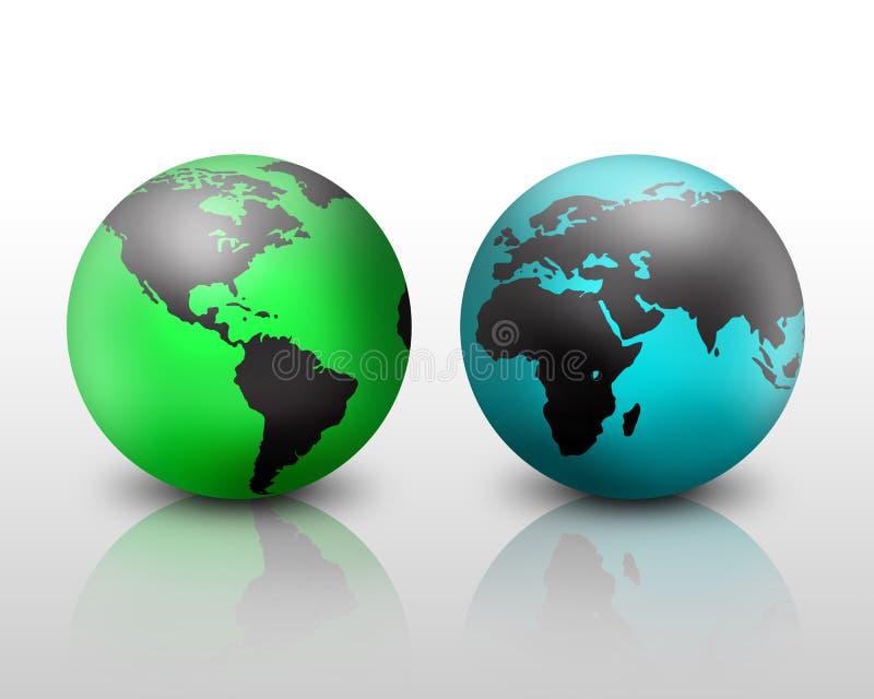 World globes vector illustration