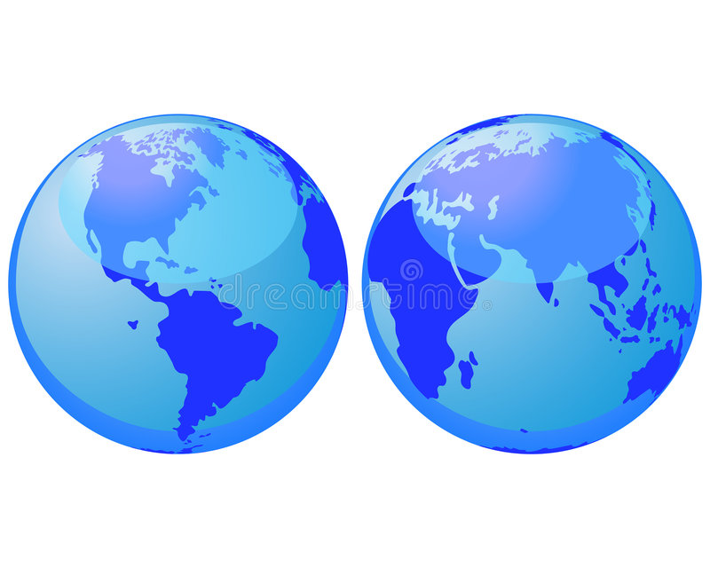 World globes stock image