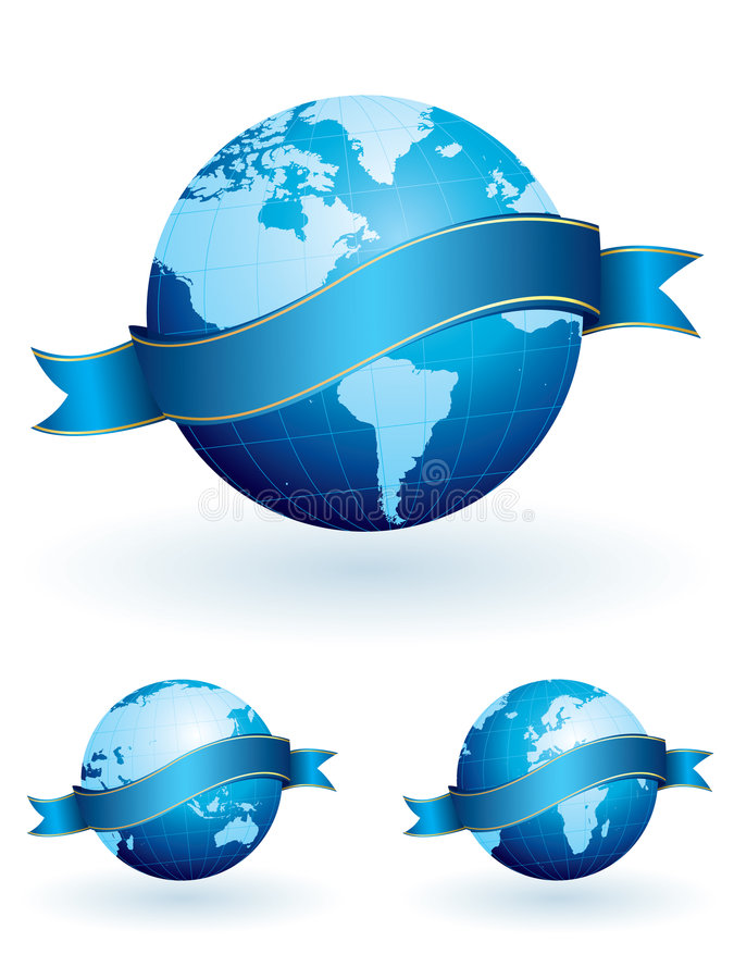World globes with banners vector illustration