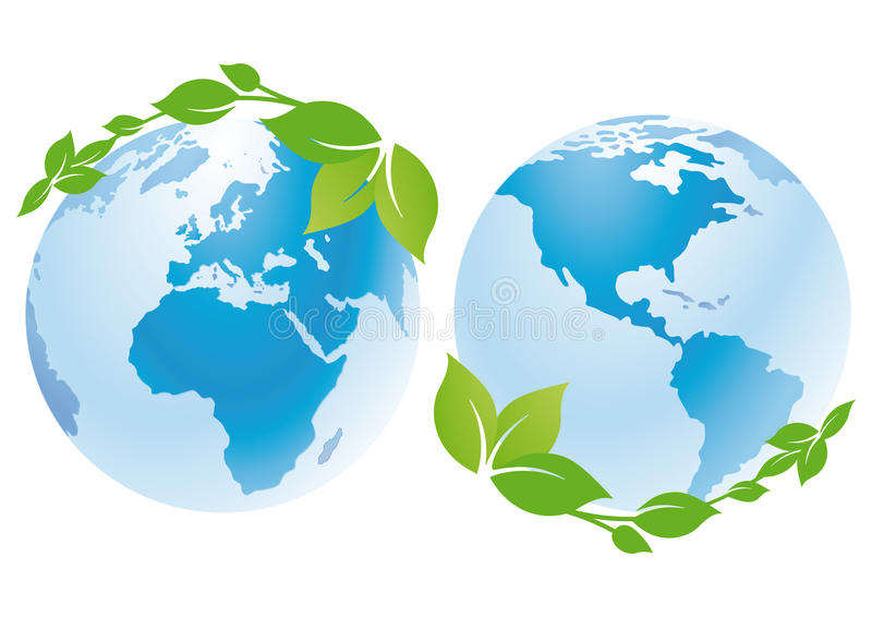 World globes with green leaves royalty free illustration