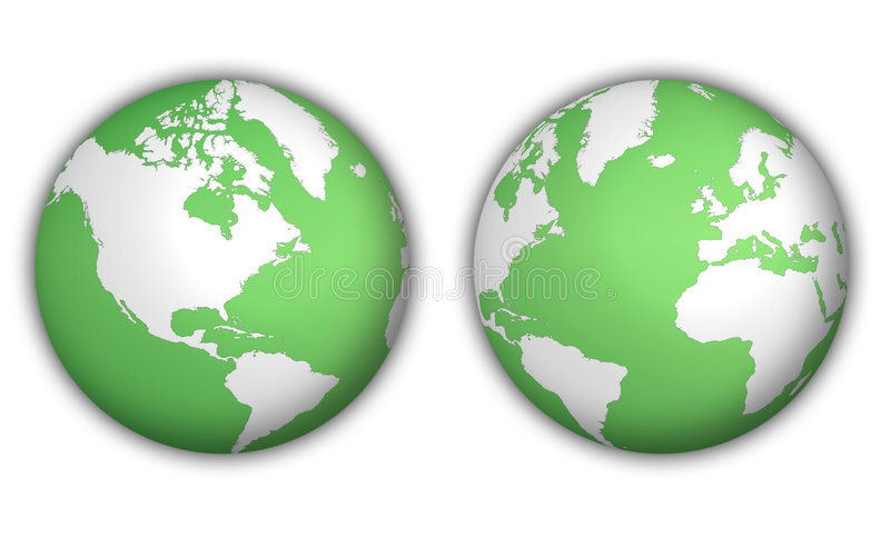 World globes with shadow stock illustration