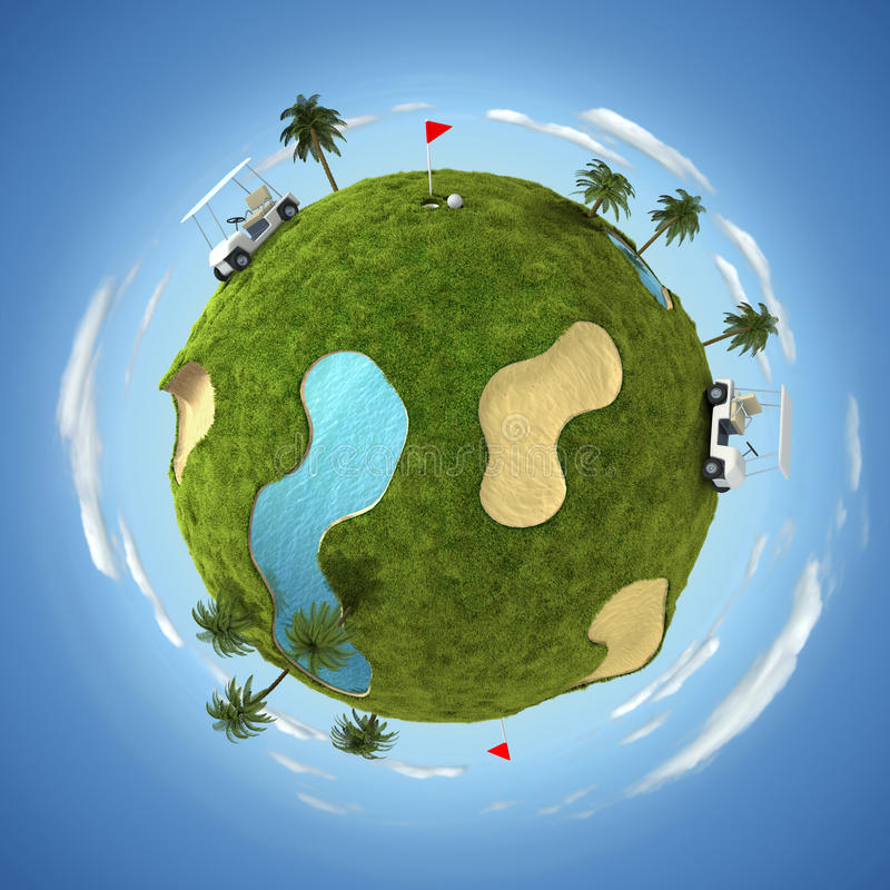 World of golf. 3D illustration with round golf terrain and golf equipment