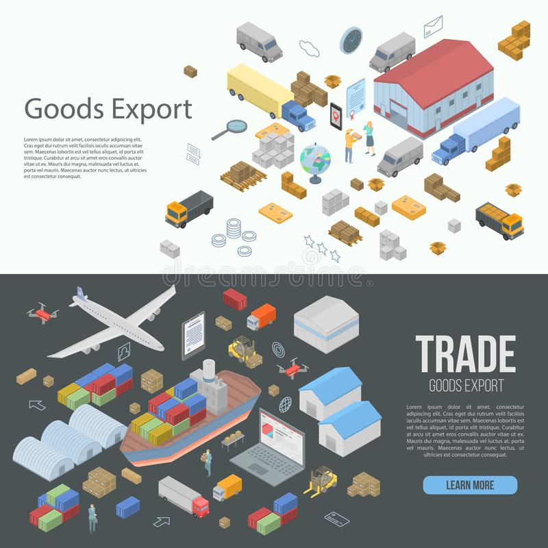 World goods export banner set, isometric style. World goods export banner set. Isometric set of world goods export vector banner for web design royalty free illustration