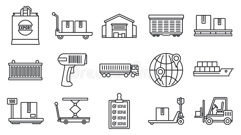 World goods export icons set, outline style. World goods export icons set. Outline set of world goods export vector icons for web design isolated on white royalty free illustration