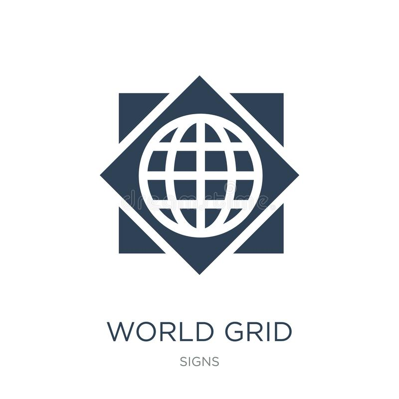 world grid icon in trendy design style. world grid icon isolated on white background. world grid vector icon simple and modern vector illustration