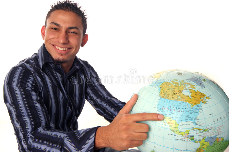 World in hand stock image