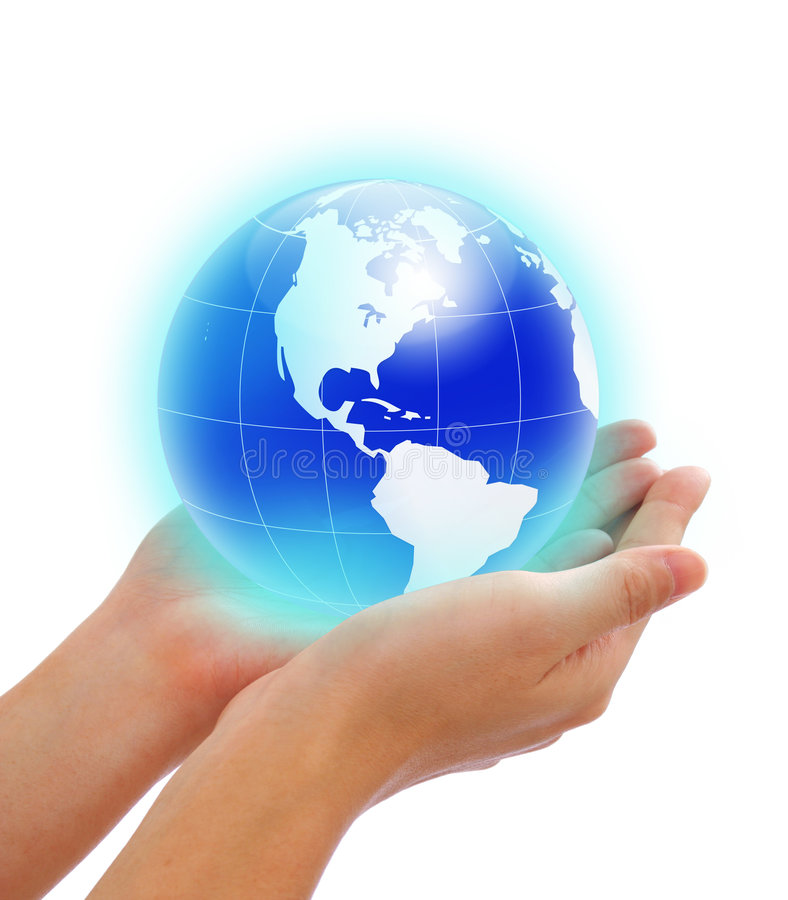 World in hand stock photos