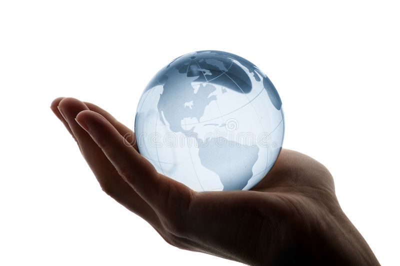 World in hand royalty free stock photography
