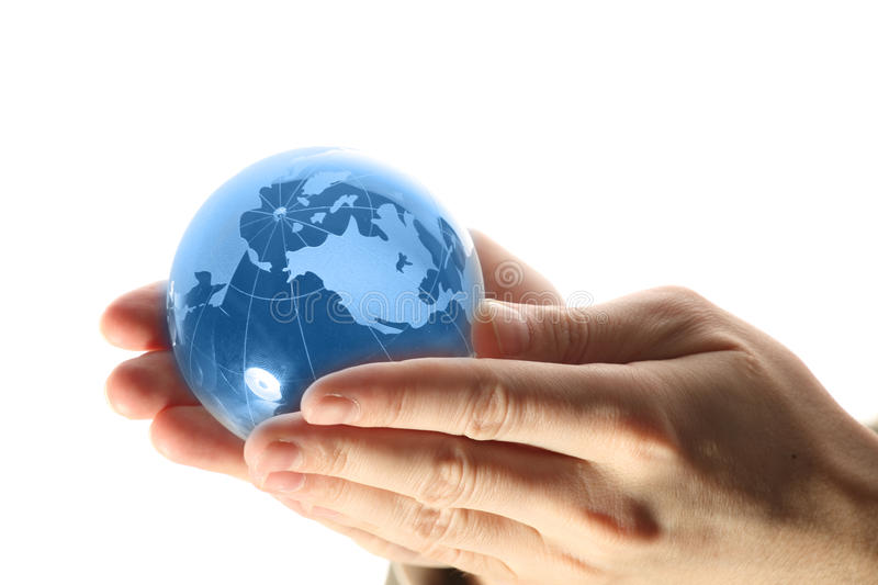 World in hand and global internet royalty free stock photo
