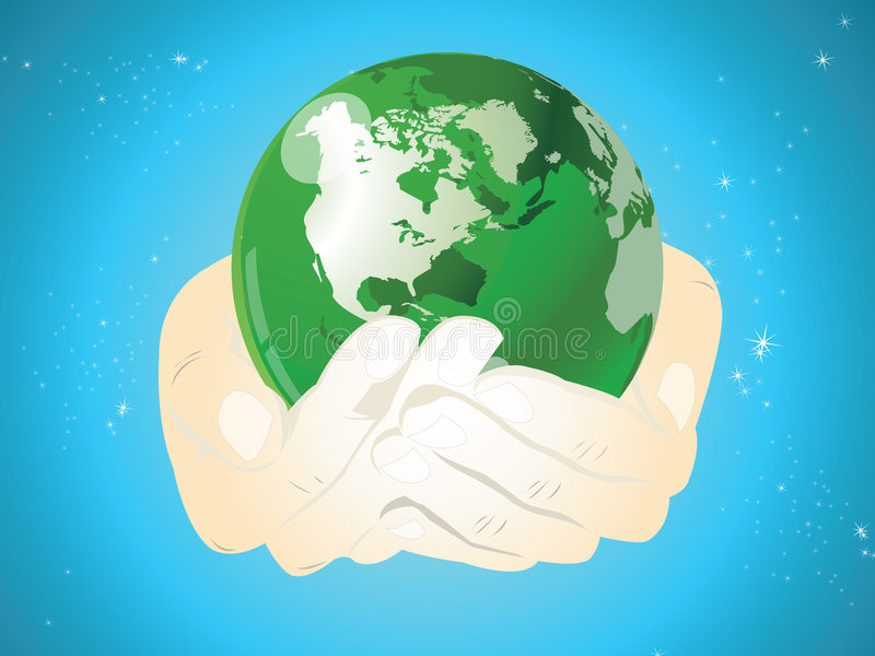 World in hands. Global internet and business royalty free illustration