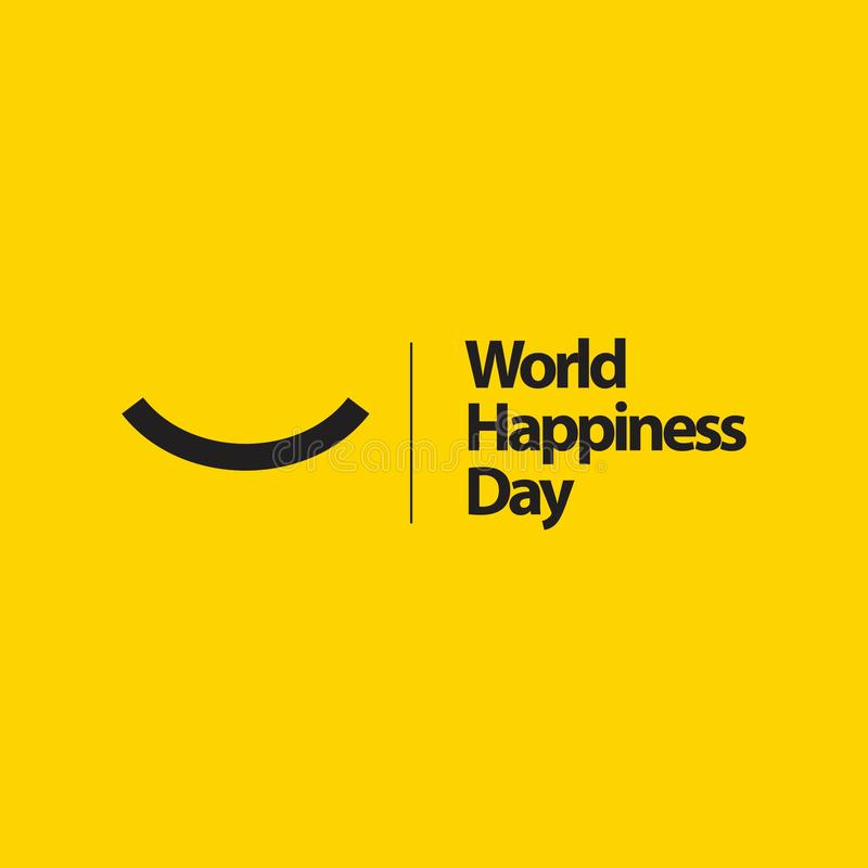 World Happiness Day Vector Template Design Illustration. Happy international smile joy fun background cheerful concept logo beautiful abstract life people cute royalty free illustration