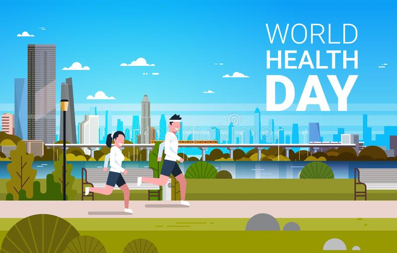 World Health Day Background With Man And Woman Jogging Healthcare And Sport Holiday Banner stock illustration