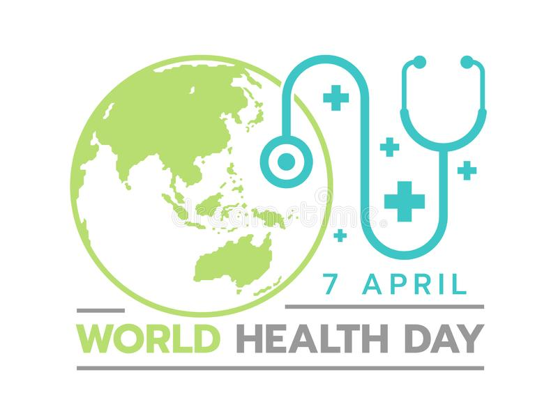 World health day banner with circle earth and doctor stethoscope sign royalty free illustration