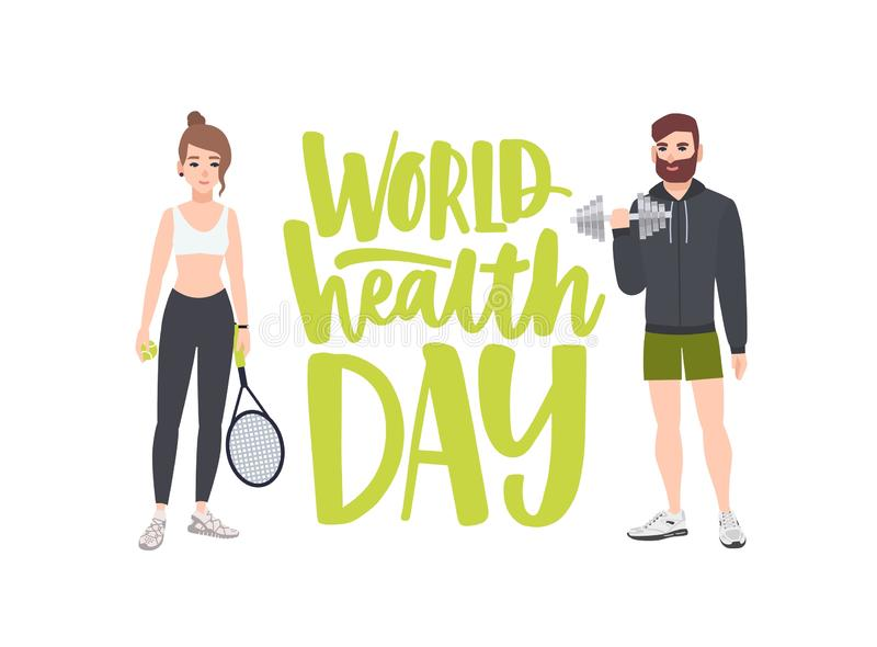 World Health Day celebratory banner with people performing physical exercise, fitness workout, sports, male bodybuilder vector illustration