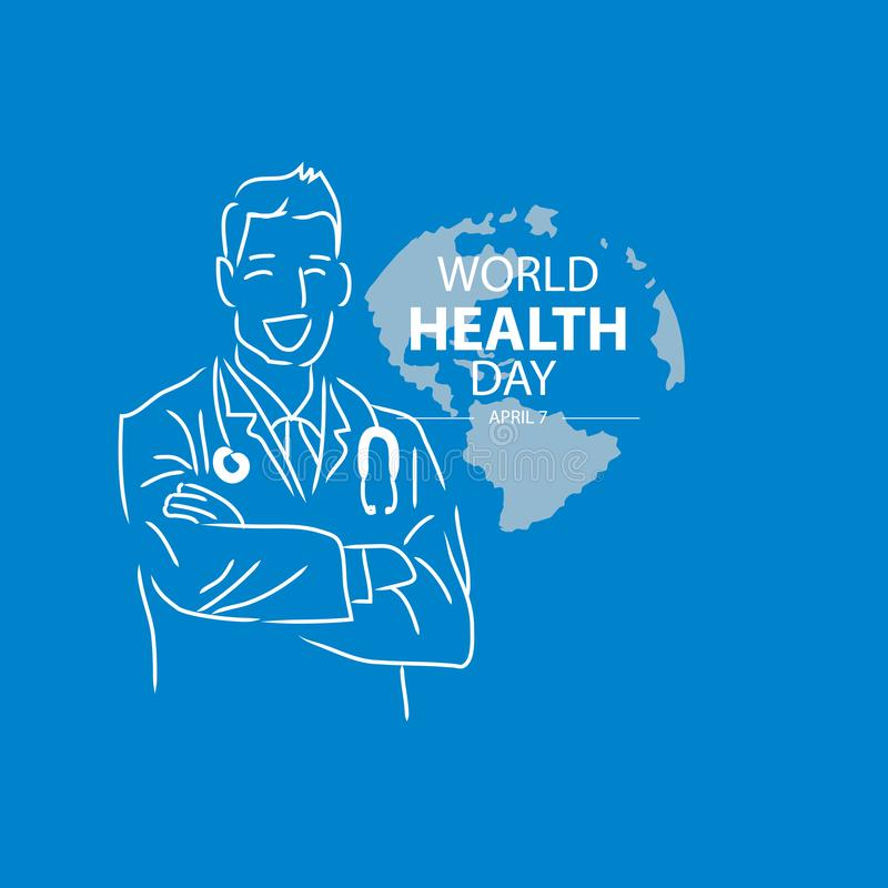 World health day concept. Blue background royalty free illustration