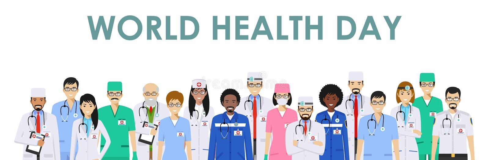 World Health Day. Medical concept. Detailed illustration of doctor and nurses in flat style isolated on white background. World Health Day concept. Detailed vector illustration