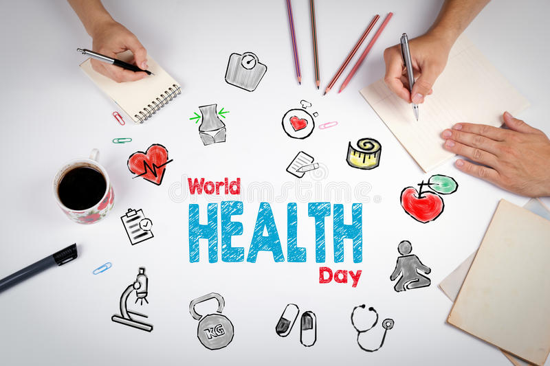 World health day concept. Healty lifestyle background. The meeting at the white office table.  stock image