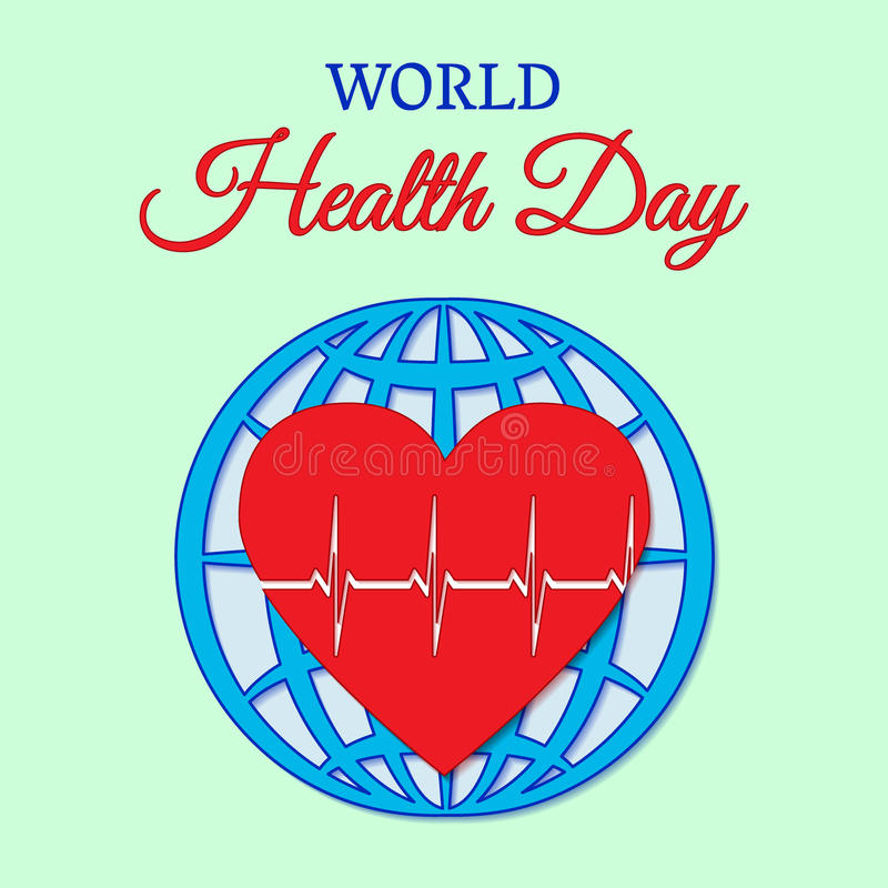 World Health Day concept with heart beats against the background of the globe. Vector illustration. Usable for design, invitation, vector illustration