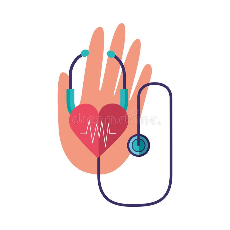 World health day. Hand stethoscope heartbeat world health day vector illustration stock illustration