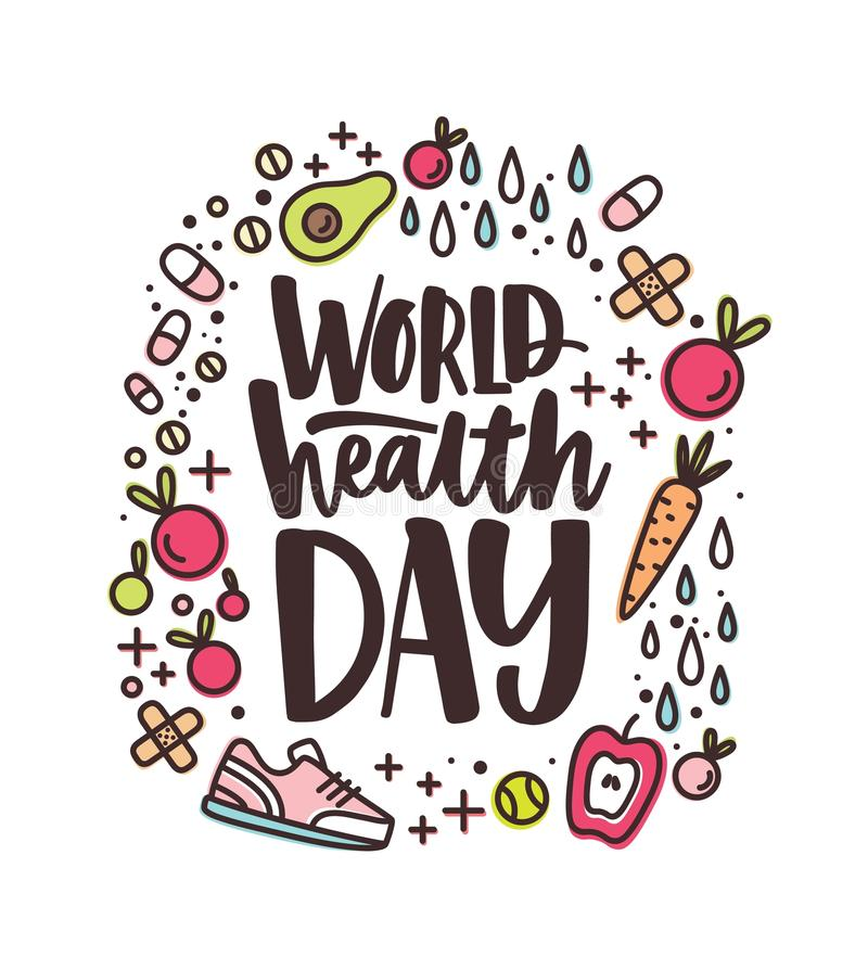 World Health Day lettering handwritten with calligraphic font surrounded by fruits, vegetables, pills, vitamins and. Supplements, trainers on white background vector illustration