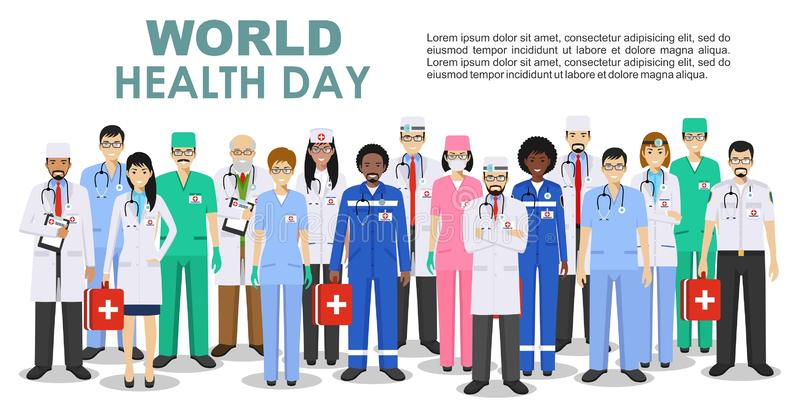 World Health Day. Medical concept. Detailed illustration of doctor and nurses in flat style isolated on white background. World Health Day concept. Detailed royalty free illustration