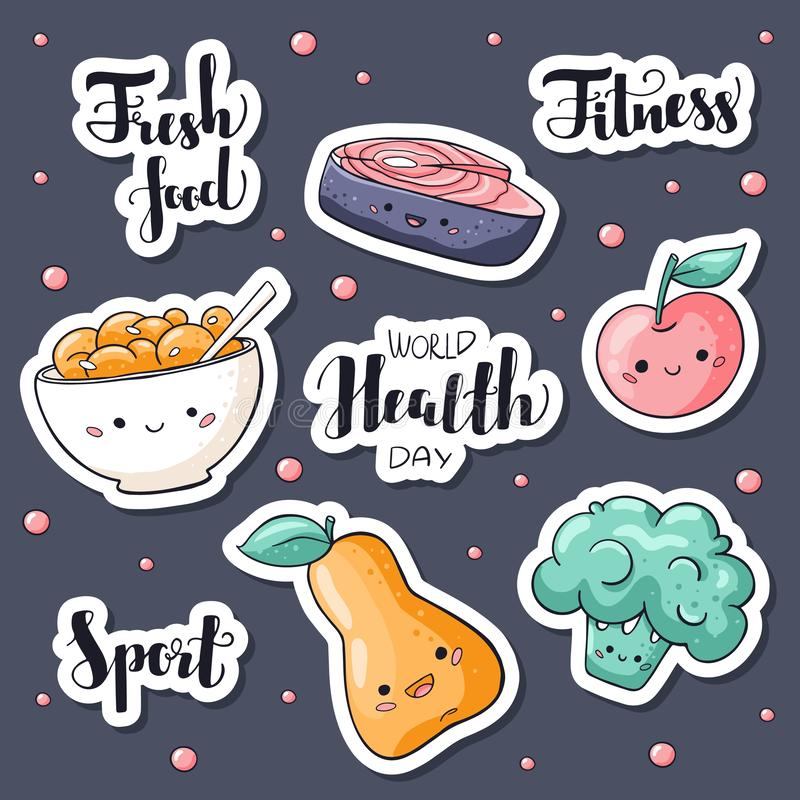 World health day stickers pack. World health day lettering. Fresh food, fitness, sport hand drawn signs. Healthy food. Stickers collection in doodle style royalty free illustration