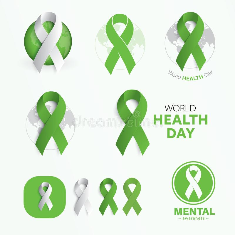 World Health Day symbols. Modern abstract vector signs set. Flat green color ribbons. Template for the charity event stock illustration