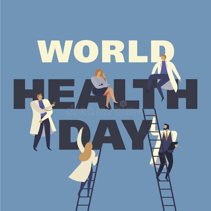 World Health Day 7th april with the image of doctors. Vector illustrations. stock illustration