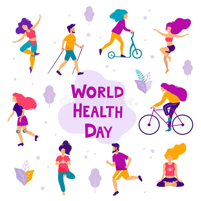 World health day vector illustration. Healthy lifestyle concept. Different physical activities vector illustration