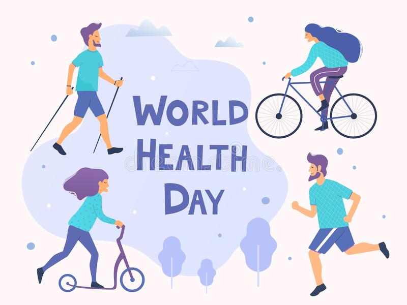 World health day vector illustration. Healthy lifestyle concept. Different physical activities. World health day vector illustration. Healthy lifestyle concept stock illustration